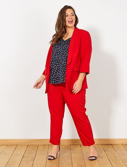 Veste blazer manches 3/4                                         rouge Grande taille femme