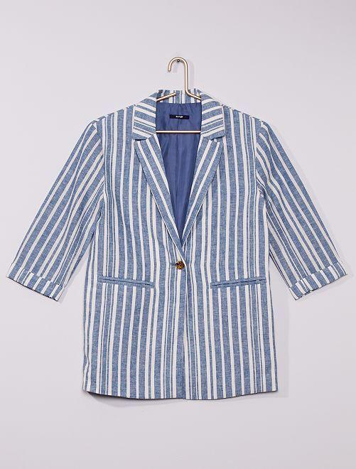 Veste blazer rayée                             bleu/blanc