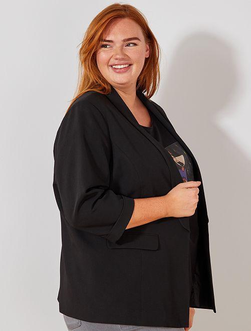 Veste blazer sans boutons                                                     noir Grande taille femme