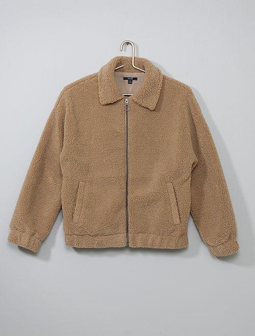 Veste bouclette zippée                             marron Fille adolescente