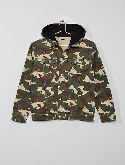 Veste camouflage en twill                             kaki