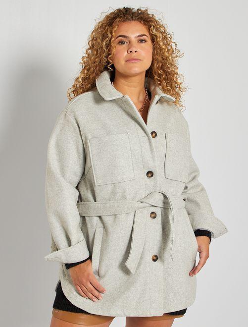 Veste ceinturée effet lainage                             gris