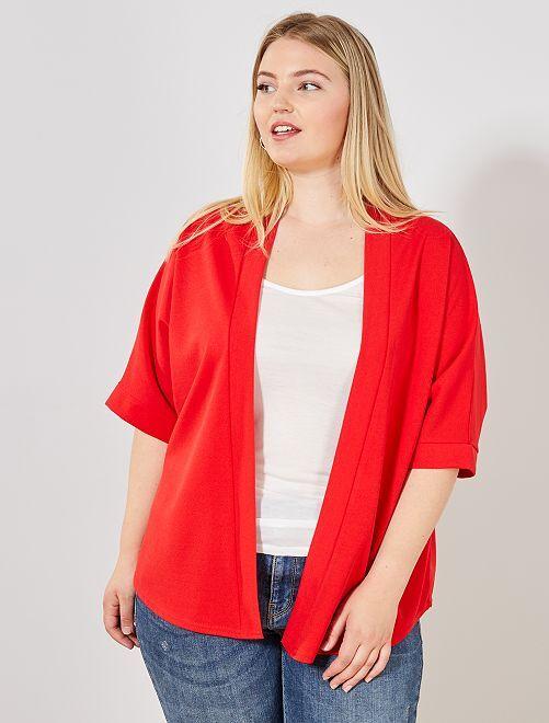 Veste coupe kimono                                         rouge Grande taille femme