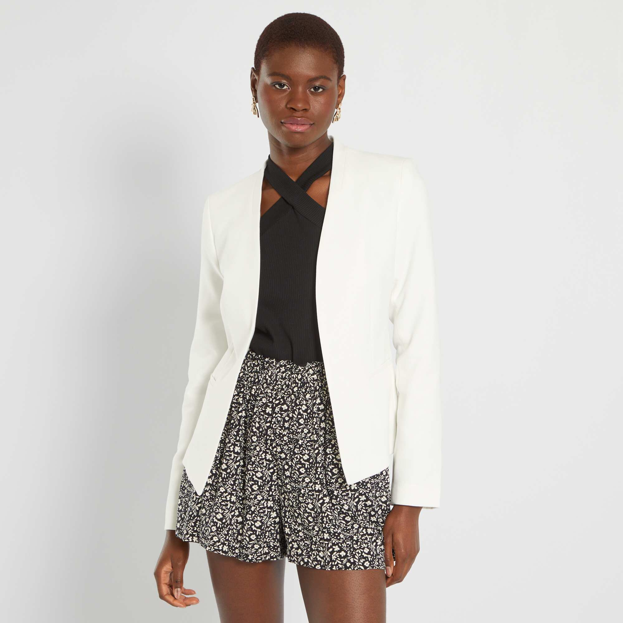 fb407341878e Veste courte de tailleur Femme - blanc - Kiabi - 25