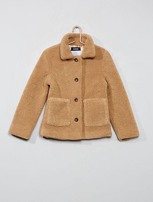Veste courte effet laine bouclée                                         beige
