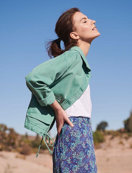 Veste courte en pur coton                             vert