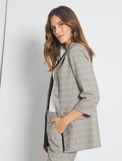 Veste de blazer à carreaux                             gris à carreaux