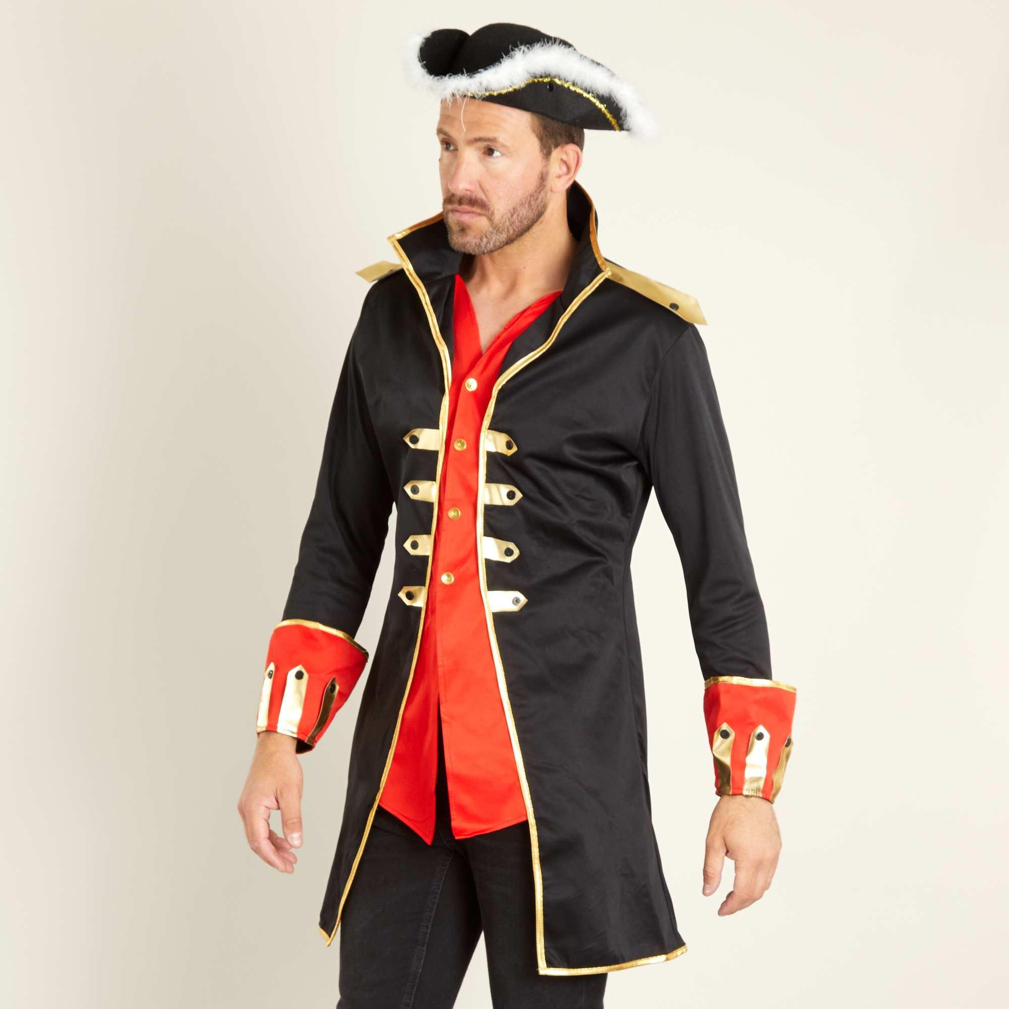 Couleur : noir, , ,, - Taille : XL, , ,,Idéale pour aller combattre les pirates ! - Déguisement de capitaine de navire -