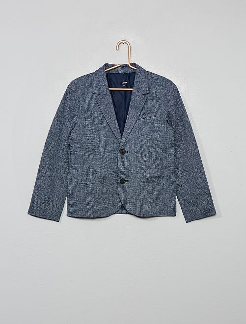 Veste de costume lin et coton                                         bleu marine