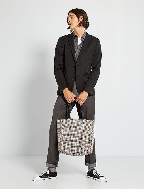 Veste de costume slim en twill                                                     noir