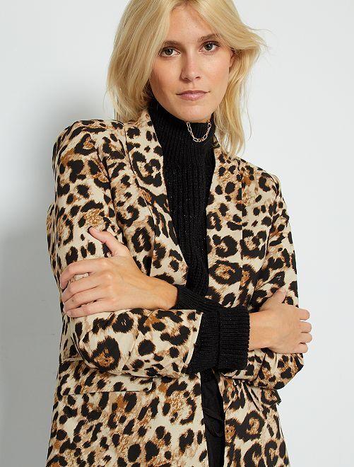 Veste de smocking imprimé 'léopard'                             beige
