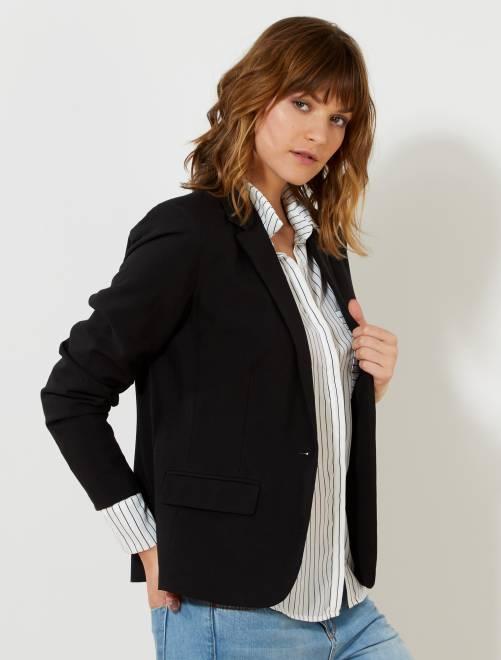 veste de tailleur 1 bouton femme noir kiabi 25 00. Black Bedroom Furniture Sets. Home Design Ideas