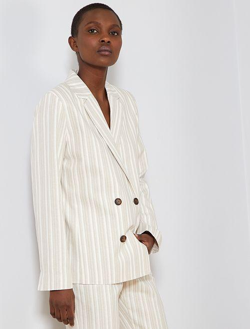 Veste de tailleur 57% lin                             beige Femme