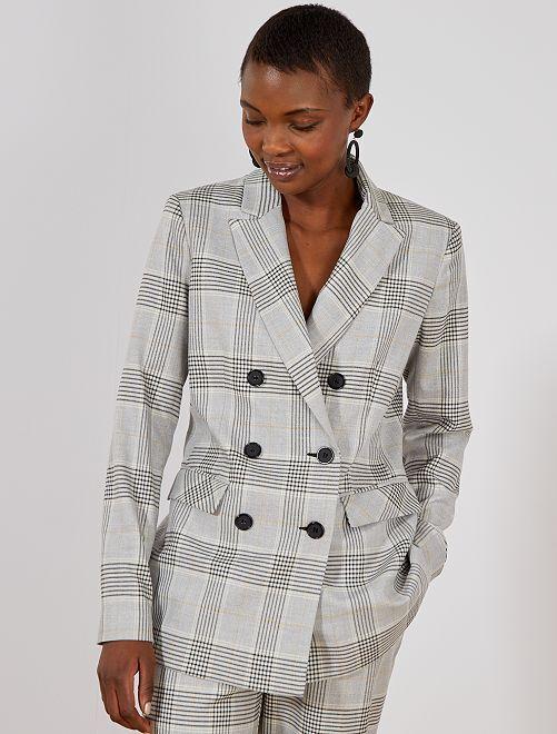Veste de tailleur à carreaux                             gris Femme