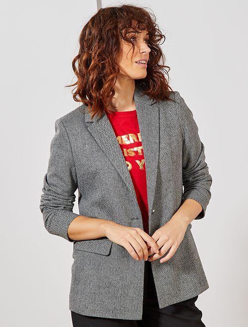 Veste de tailleur à chevrons                             gris