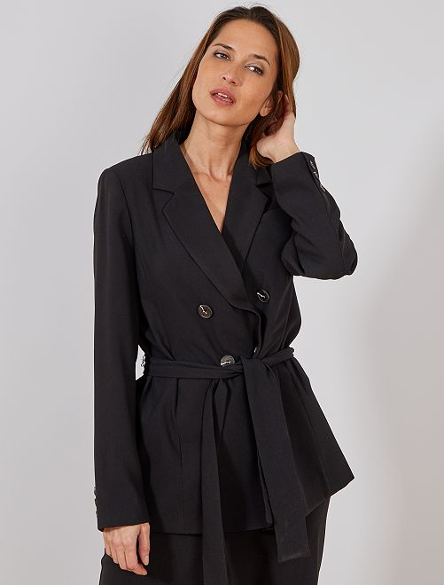 Veste de tailleur ceinturée                             noir Femme