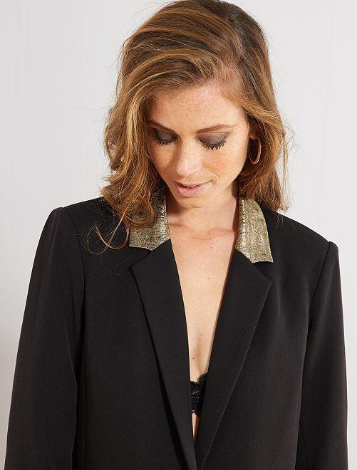 Veste de tailleur détails dorés                             noir