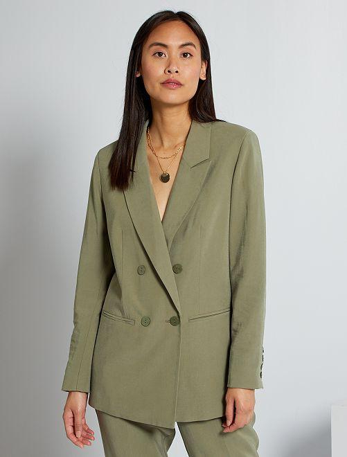 Veste de tailleur double boutonnage                     vert lichen