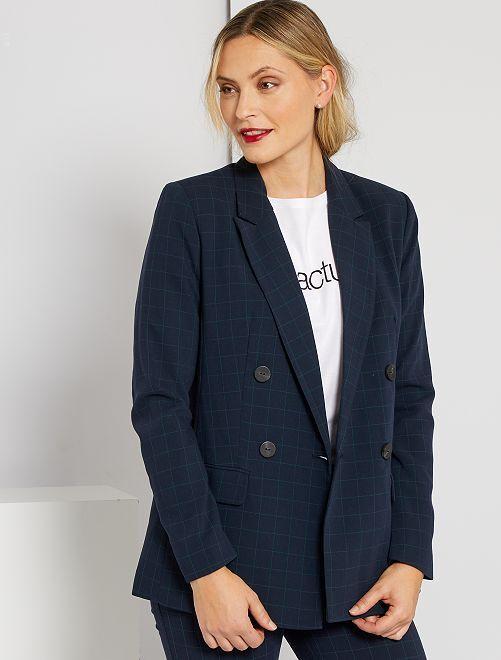 Veste de tailleur écossaise                                                     bleu