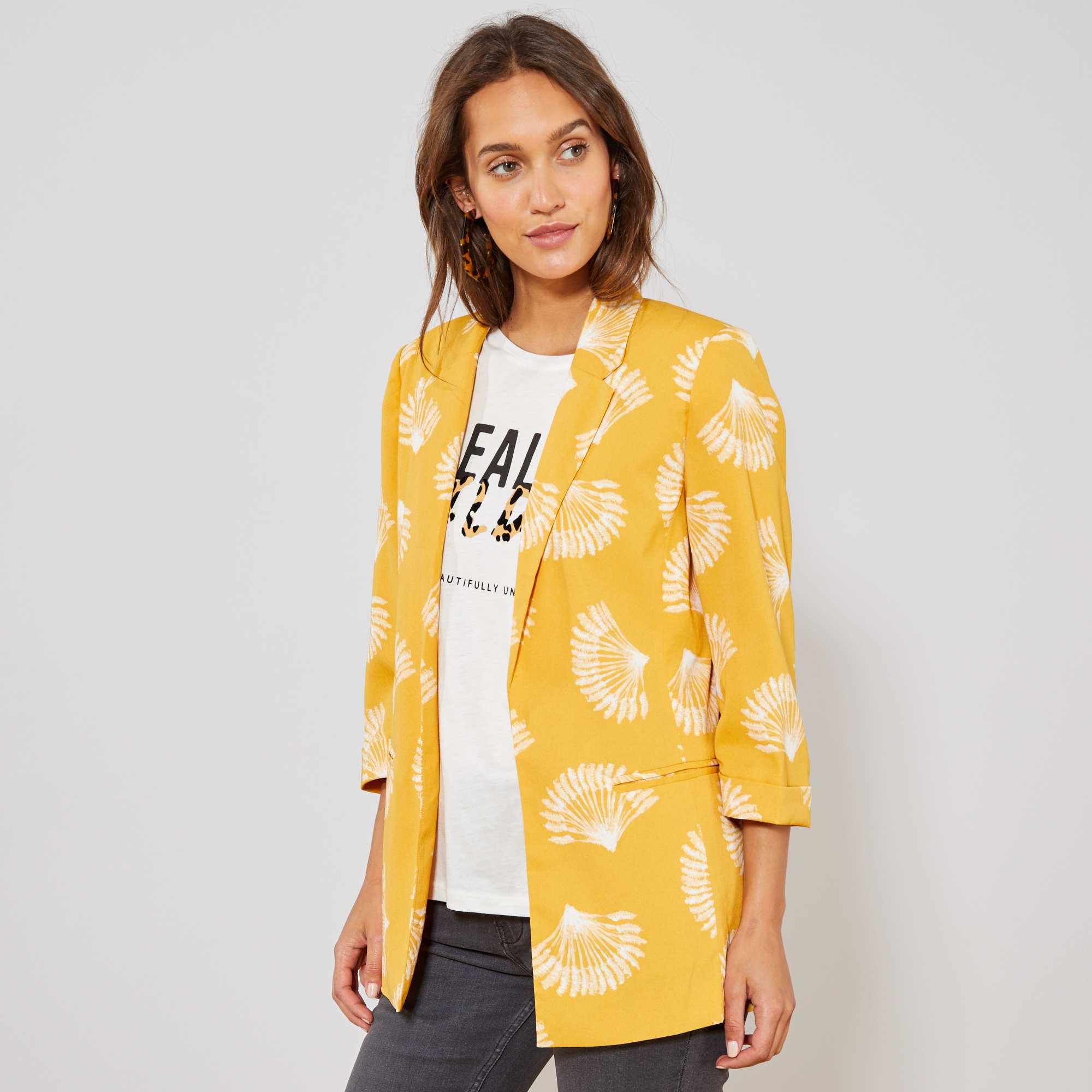 ac467b5f2bb78 Veste de tailleur imprimée Femme - jaune - Kiabi - 25,00€