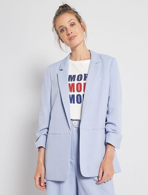 Veste de tailleur manches retroussées                                         bleu