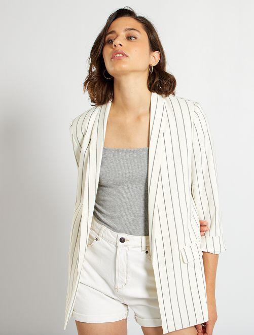Veste de tailleur rayée                             blanc rayé
