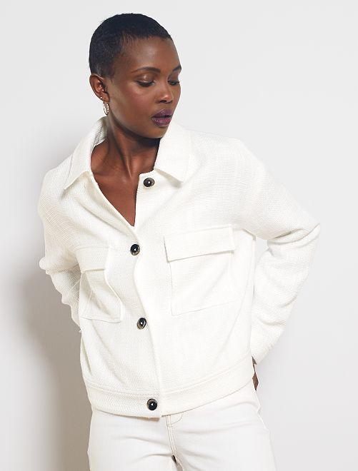 Veste droite en tweed                                                     blanc