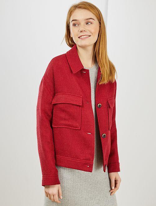 Veste droite en tweed                                                     rouge