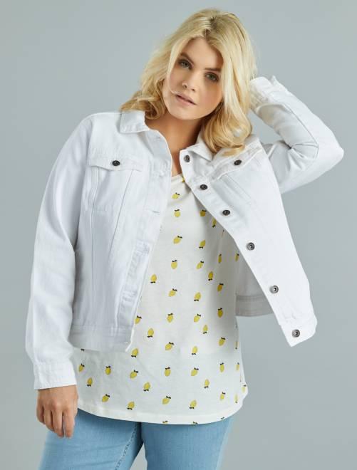 Veste en denim blanc Grande taille femme