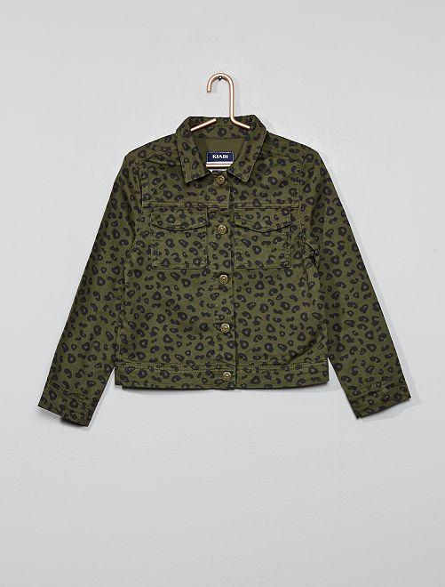 Veste en denim imprimé léopard                                                     imprimé kaki Fille