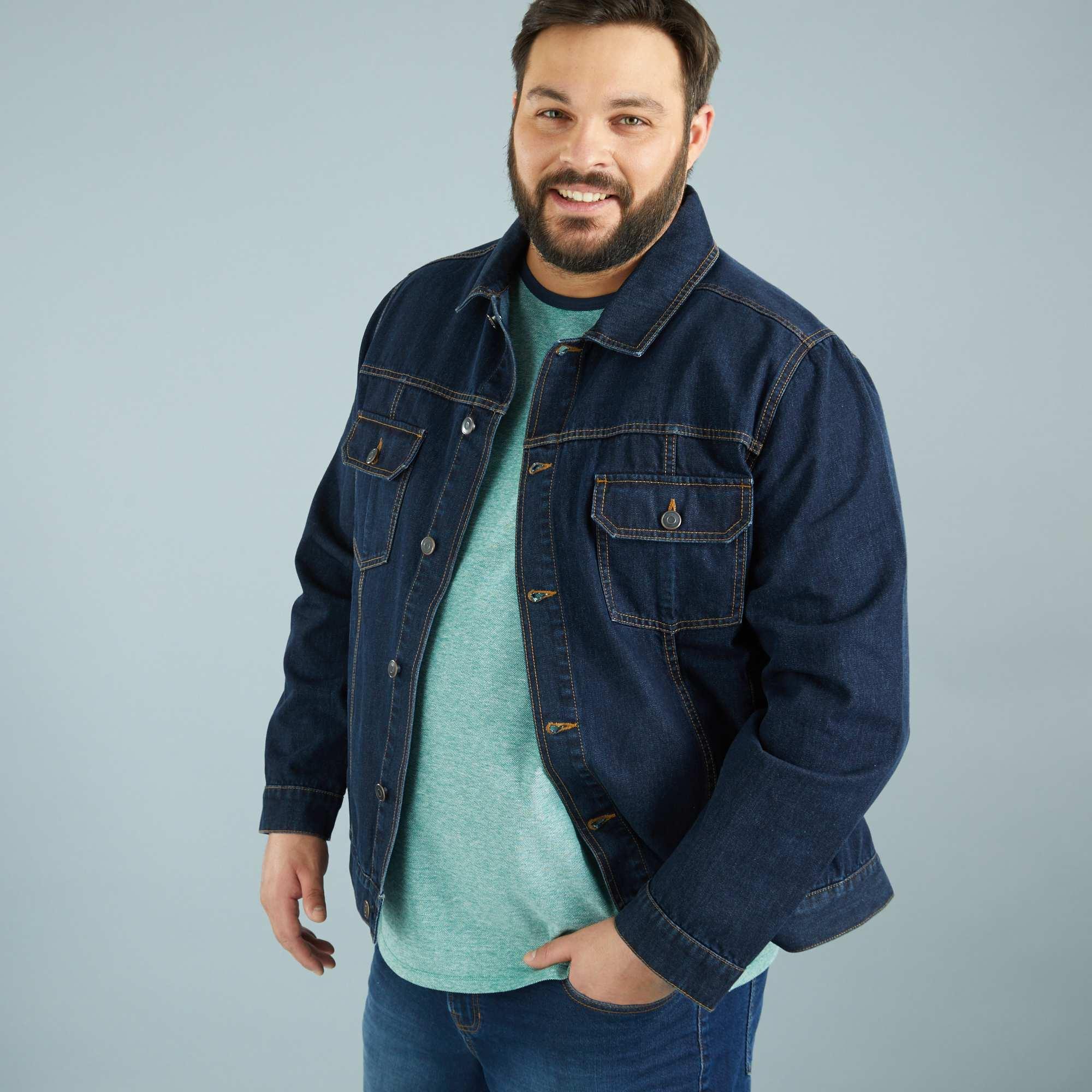 veste en jean coupe droite grande taille homme kiabi 26 00. Black Bedroom Furniture Sets. Home Design Ideas