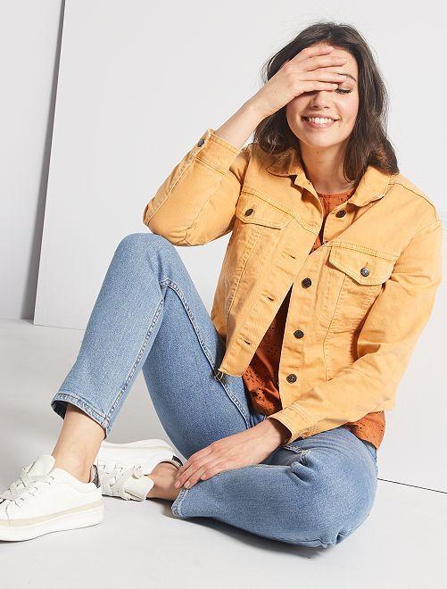 Veste en jean cropped                                         jaune