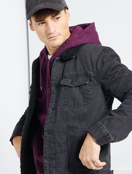 Veste en jean doublée sherpa                                         gris