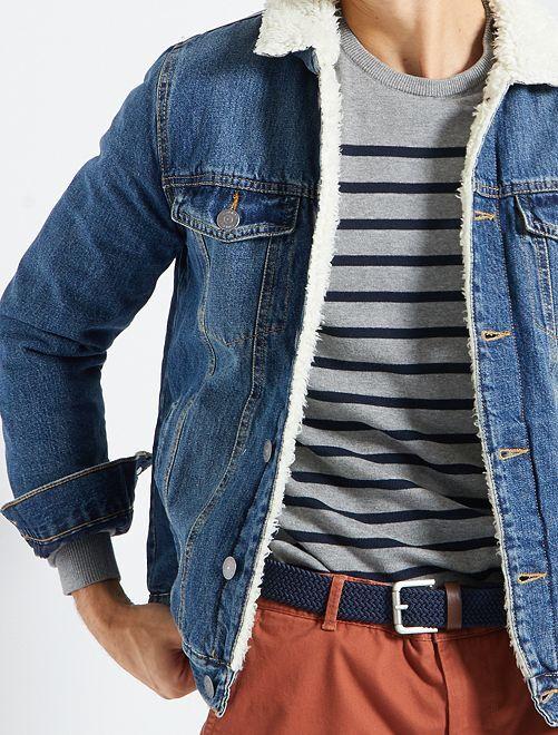 Veste en jean doublée sherpa                                         stone