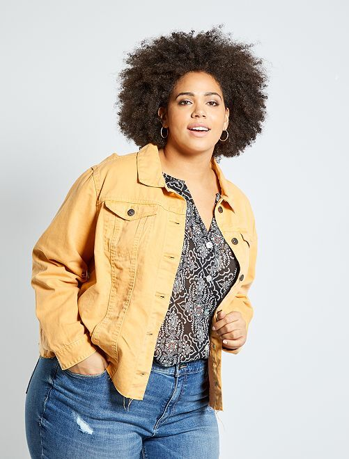 Veste en jean finition à cru                                                     jaune