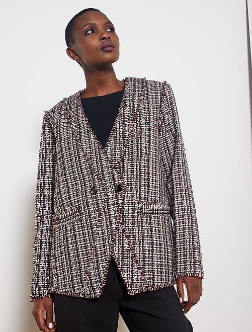 Veste en tweed                             gris/bordeaux