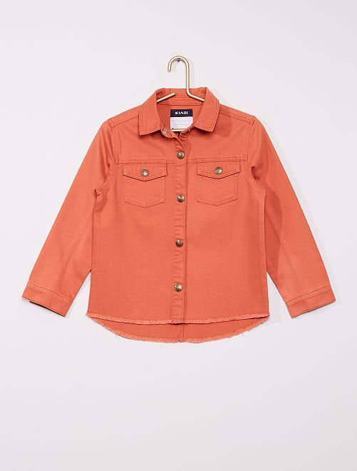 Veste en twill effet destroy                             orange