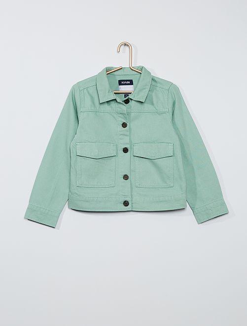 Veste en twill larges poches                                                                                         vert grisé