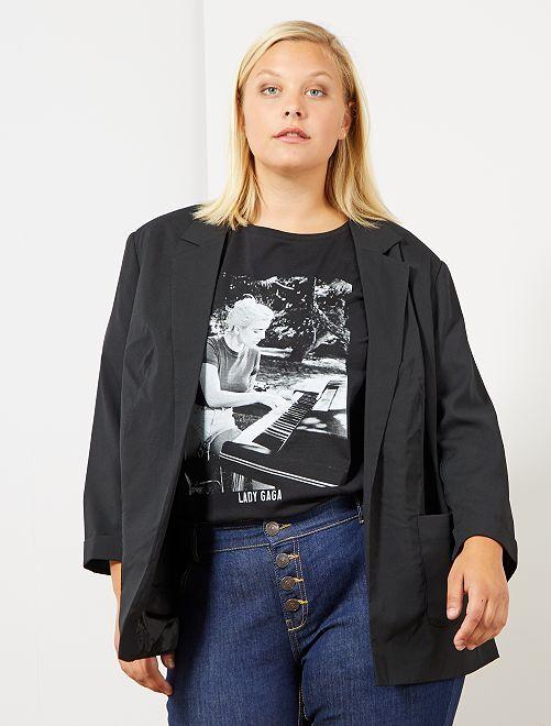 Veste fluide unie                                         noir Grande taille femme