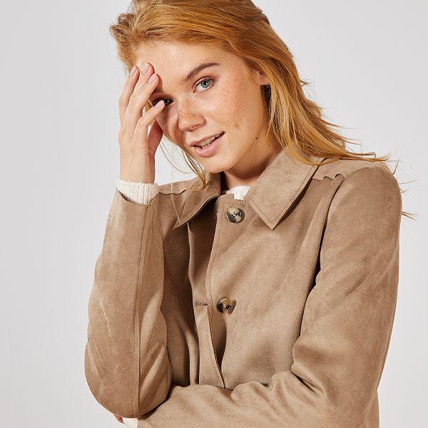 Veste longue beige femme