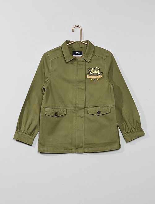 Veste patch 'léopard'                             kaki