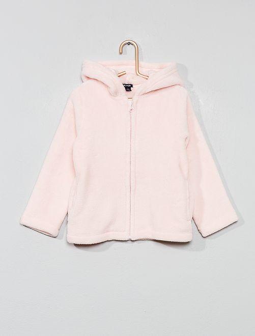 Veste peignoir en polaire                                         rose pâle