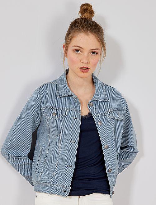 Veste rayée en denim                             bleu rayé Femme