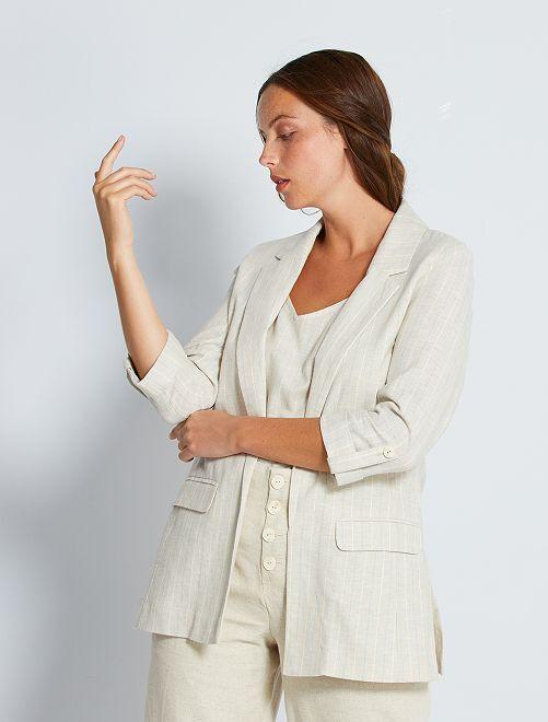 Veste rayée en lin et coton                             beige