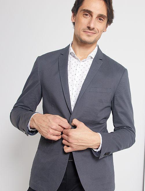 Veste skinny à micro motif                             gris