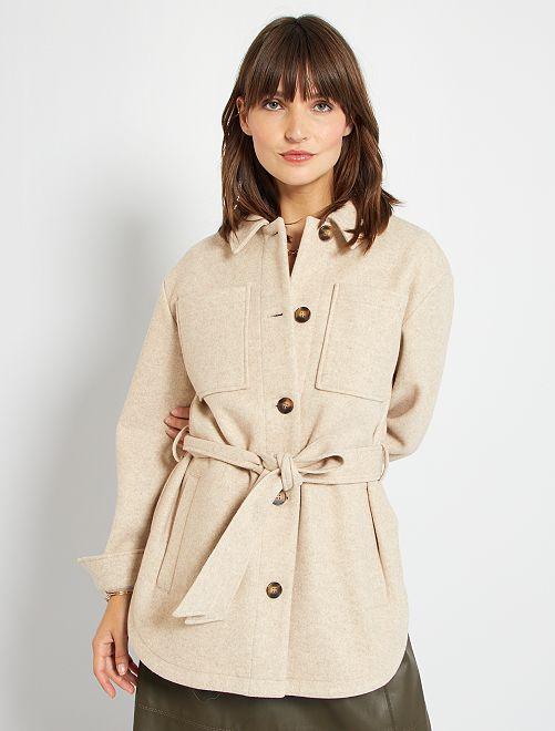 Veste style lainage à grandes poches                                                                 beige