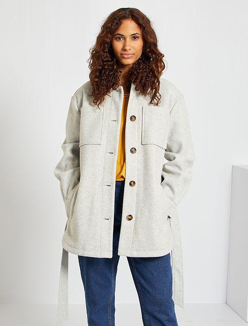 Veste style lainage à grandes poches                                                                 gris