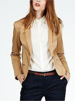 Femme du 34 au 52 Veste tailleur 1 bouton satin de coton