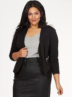 Grande taille femme Veste tailleur col simili et poches zippées