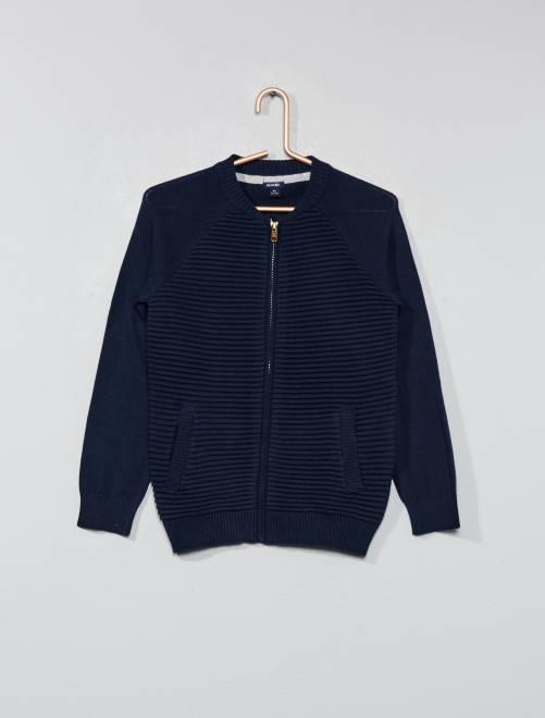 Veste zippée côtelée                                                     bleu marine Garçon